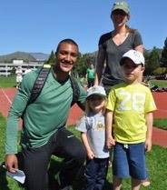 Olympic decathlon champion Ashton Eaton with Haley, Lance, & Kelda Wilson