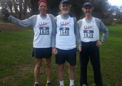 Jory Hallanan, Paul Shires, & Dave Dunbar at the National Masters Cross Country Championships in San Francisco