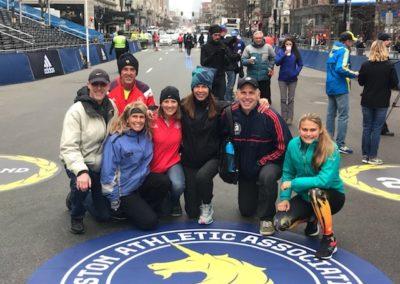 Boston Marathon runners Rick Chezum, Chuck Fiorentino, Cyndy Lakowske, Marian Fiorentino,  Michelle Haynes, Dave Fleishman, & Kelsey Lakowske